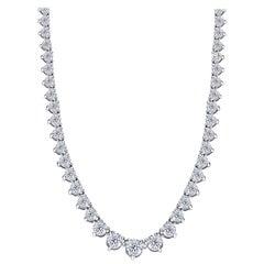 5.00 Carat Diamond Riviera Three Claws 18 Karat White Gold Tennis Line Necklace