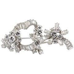 5.00 Carat Diamonds Cluster Brooch Pendant Pin Platinum Estate Cluster Cocktail