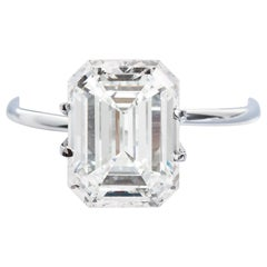 5.00 Carat Emerald Cut Diamond Solitaire Ring J VS1 GIA