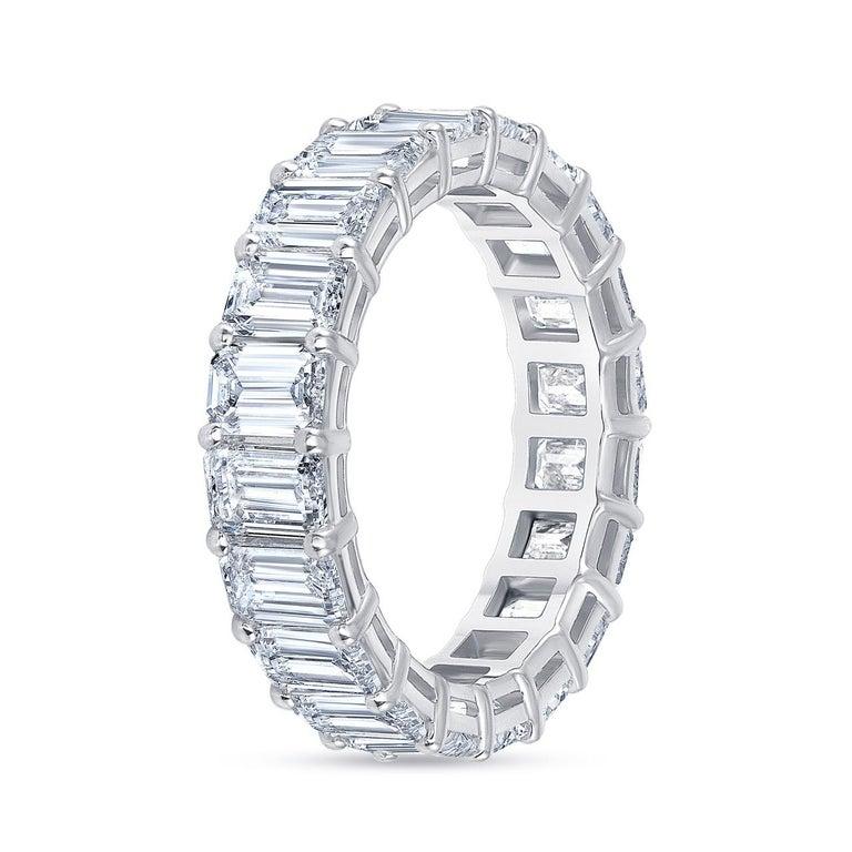 Women's or Men's 5.00 Carat Emerald Cut White Diamond Eternity Ring / Band Rings/ 18 Karat Gold For Sale