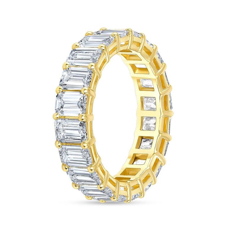 5.00 Carat Emerald Cut White Diamond Eternity Ring / Band Rings/ 18 Karat Gold For Sale 2