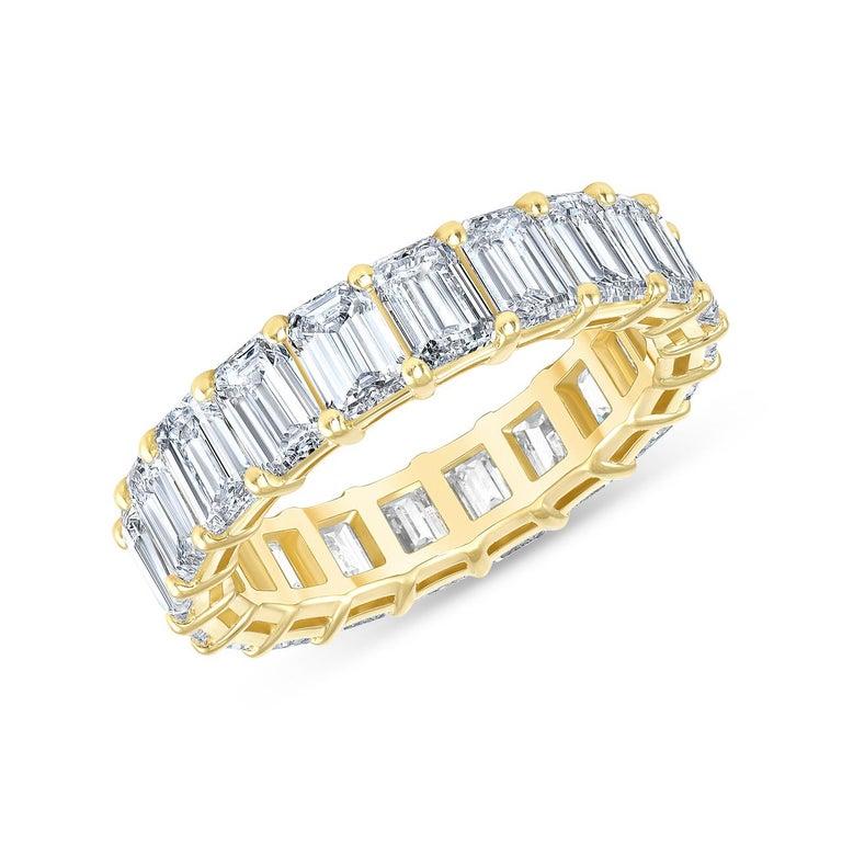 5.00 Carat Emerald Cut White Diamond Eternity Ring / Band Rings/ 18 Karat Gold For Sale 3