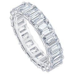 5.00 Carat Emerald Cut White Diamond Eternity Ring / Band Rings/ 18 Karat Gold