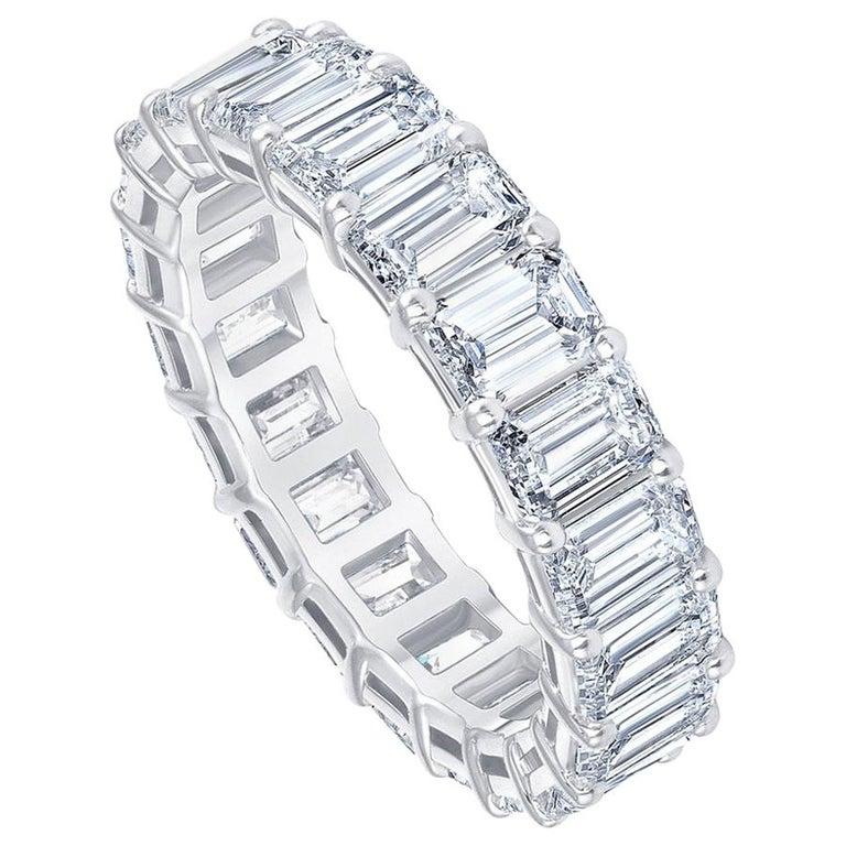 5.00 Carat Emerald Cut White Diamond Eternity Ring / Band Rings/ 18 Karat Gold For Sale