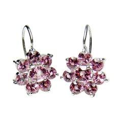 Estate Art Deco style Pink-Rose Spinel Daisy Dangle Earrings