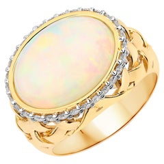 5.00 Carat Ethiopian Opal and Diamond 14 Karat Yellow Gold Ring