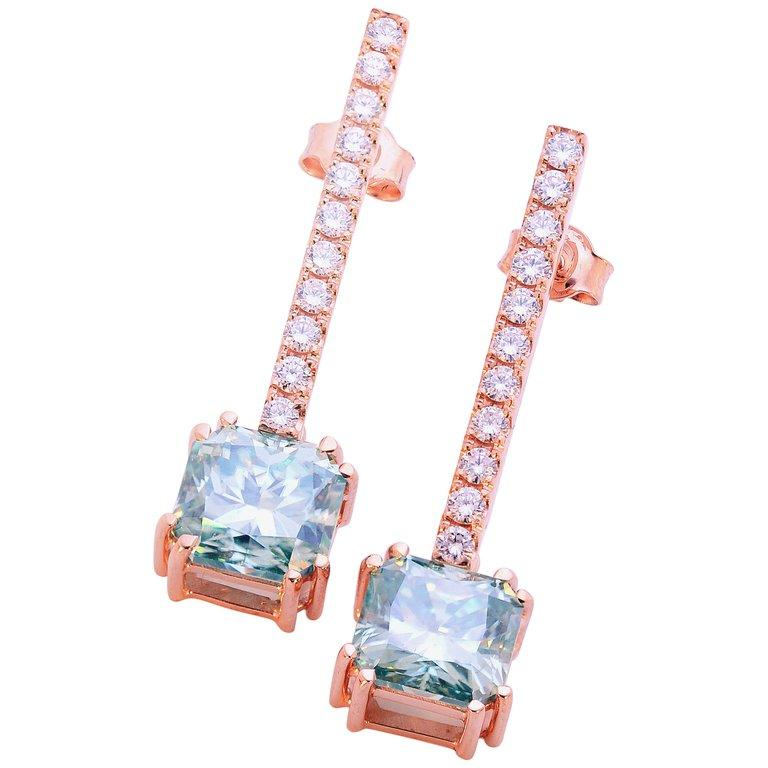 5.00 Carat Fancy Green Radiant Moissanite & Diamond 18 Karat Rosé Gold Earrings For Sale
