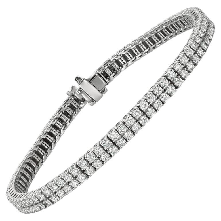 5.00 Carat Natural Diamond 2 Rows Tennis Bracelet G SI 14 Karat White Gold