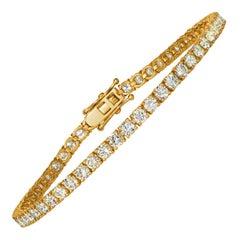 5.00 Carat Natural Diamond Tennis Bracelet G SI 14 Karat Yellow Gold