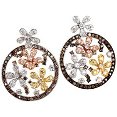 5.00 Carat Natural Fancy Color Diamonds Flower Clusters Dangle Earrings 14 Karat