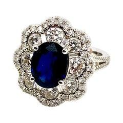 5.00 Carat Natural Sapphire and Diamond Ring F VS 18 Karat White Gold
