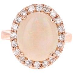 5.00 Carat Opal Diamond 14 Karat Rose Gold Ring