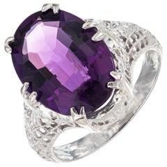 5.00 Carat Oval Bright Purple Amethyst Filigree Gold Ring
