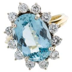 5.00 Carat Oval Cut Aquamarine and Diamond Cocktail Ring