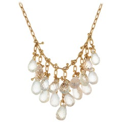5.00 Carat Pear Sapphire Yellow Gold Necklace