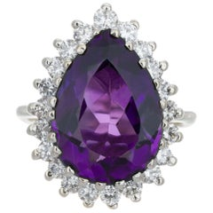 5.00 Carat Purple Amethyst Diamond Halo White Gold Cocktail Ring