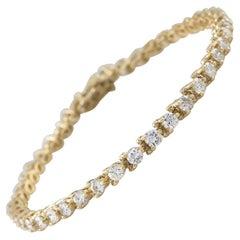 5.00 Carat Round Brilliant Diamond 14 Karat Yellow Gold Tennis Bracelet