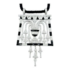 5.00 Carat Round Brilliant Diamond and Onyx White Gold Pendant on Silk Rope