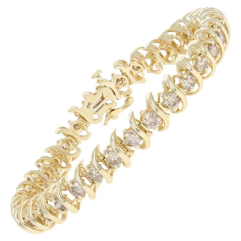5.00 Carat Round Brilliant Diamond Bracelet, 14 Karat Yellow Gold Tennis For Sale