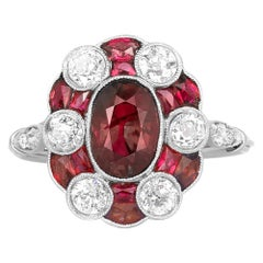 5.00 Carat Ruby and Diamond Cluster Ring