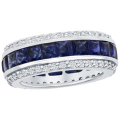 5.00 Carat Sapphire Princess Channel Eternity Band