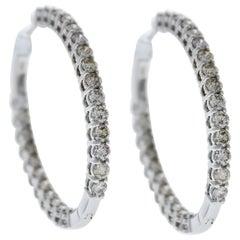 5.00 Carat Total Weight Diamond Inside-Outside Hoop Earrings in 14 Karat Gold