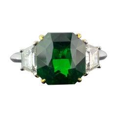 5.00 Carat Tsavorite and Diamond Three-Stone Engagement Ring