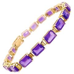 Amethyst Bracelet 5.00 Carats Emerald Cut Amethyst Gemstones in Yellow Gold