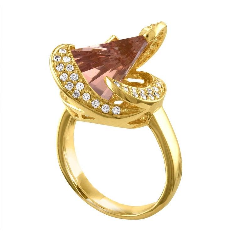 5.00 Carat Axe Cut Morganite and Diamond Gold Ring