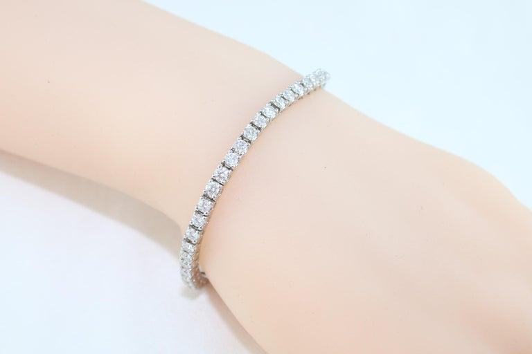 Women's 5.00 Carat Diamond Gold Tennis Bracelet For Sale