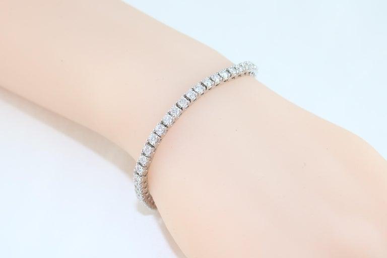5.00 Carat Diamond Gold Tennis Bracelet For Sale 1