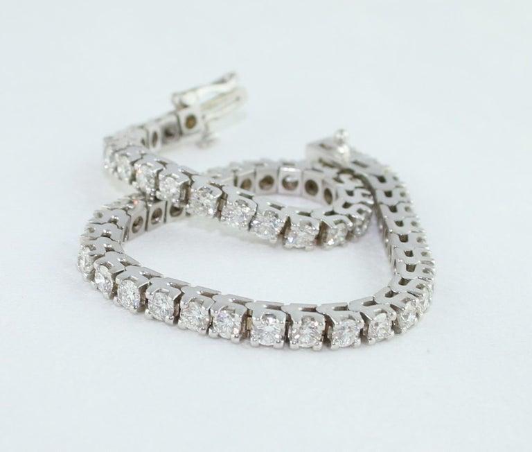 5.00 Carat Diamond Gold Tennis Bracelet For Sale 2