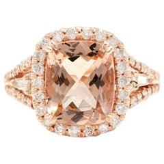 5.00 Carat Natural Morganite and Diamond 14 Karat Solid Rose Gold Ring