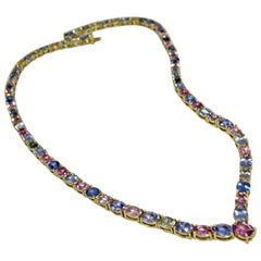 50.00 Carat 100% Natural Multicolored Sapphire Necklace 18 Karat Gold