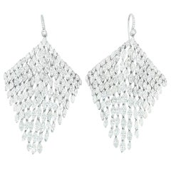 50.00 Carat Diamond 18 Karat White Gold Chandelier Earrings