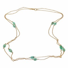 50.00 Carat Emerald Beaded Yellow Gold Victorian Necklace