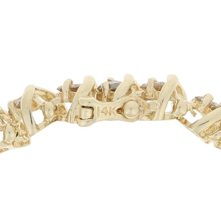 Round Cut 5.00 Carat Round Brilliant Diamond Bracelet, 14 Karat Yellow Gold Tennis For Sale