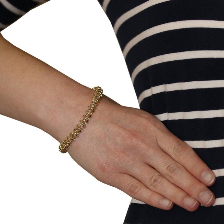 5.00 Carat Round Brilliant Diamond Bracelet, 14 Karat Yellow Gold Tennis In Excellent Condition For Sale In Greensboro, NC
