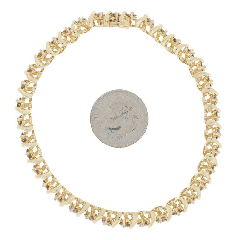Men's 5.00 Carat Round Brilliant Diamond Bracelet, 14 Karat Yellow Gold Tennis For Sale