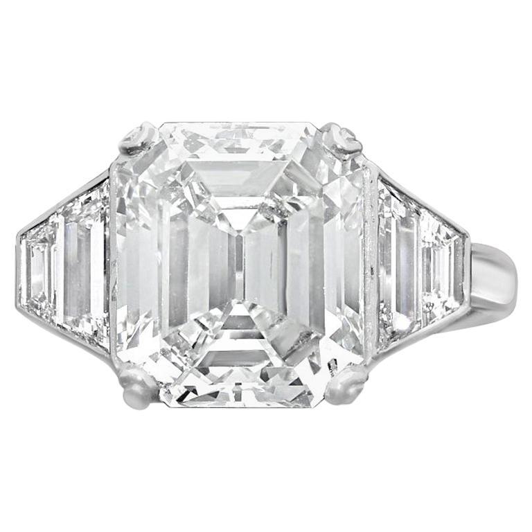 5.01 Carat E VS2 Vintage Emerald Cut Diamond Platinum Ring by Hancocks