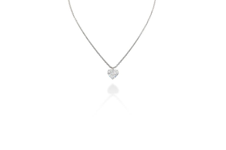 5.01 carat H VS2 diamond heart shape solitaire necklace on a fine 14K gold chain with a total weight of 14.6g. Chain drop is 8 in. Set in 18k and 14k white gold. GIA Certified. Certificate No. 1139995781.    Viewings available in our NYC showroom by