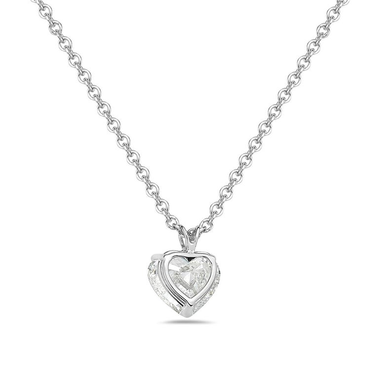 Women's 5.01 Carat GIA Certified Diamond Heart Pendant Necklace For Sale