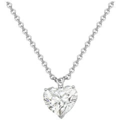 5.01 Carat GIA Certified Diamond Heart Pendant Necklace