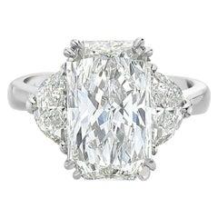5.01 Carat GIA Rectangular Radiant Diamond Engagement Ring