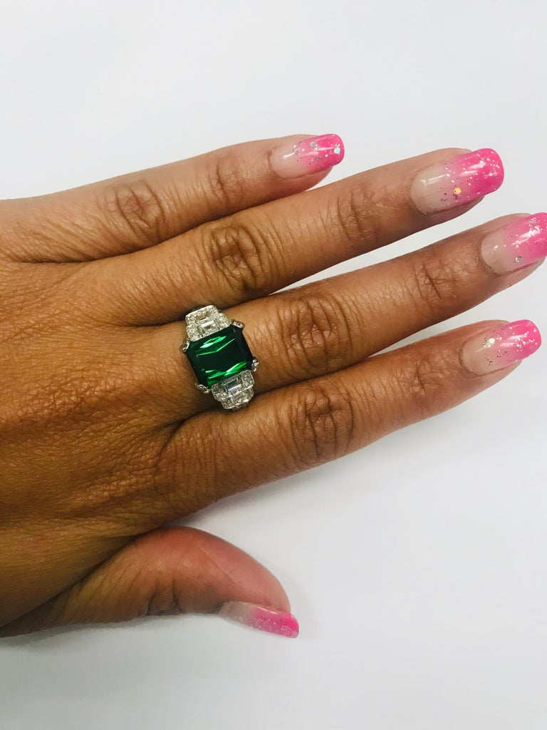 Emerald Cut 5.01 Carat Green Tourmaline and Diamond Ring 14 Karat White Gold For Sale