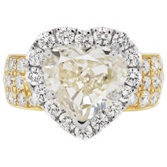 5.01 Carat Heart Shape Diamond 18 Carat Gold Engagement Ring