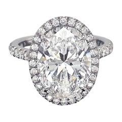 5.01 Carat Oval Cut Diamond Ring GIA Certified