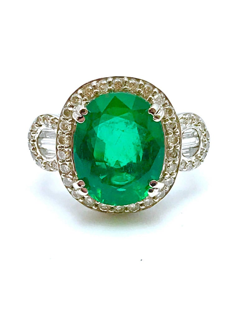 5 01 Carat Oval Natural Emerald And Diamond White Gold