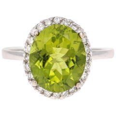 5.01 Carat Peridot Diamond Ring White Gold Engagement Ring