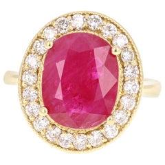 5.01 Carat Ruby Diamond 18 Karat Yellow Gold Ring